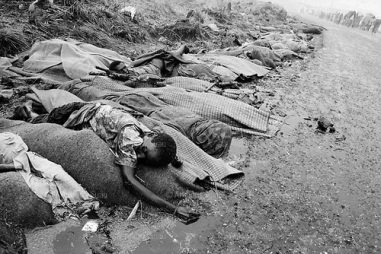 Goma, Zaire July 1994 The dead bodies of fleeing Hutus pilled up along the roadsides. Both former military and civilians, died in epidemics of cholera and dysentery that swept the roads and refugee camps in Zaire. Following the 1994 Rwandan Genocide, in which Hutu militia groups and the Hutu lead Rwanda military, killed an estimated 800,000 ethnic Tutsis and sympathizers during a 100-day killing spree, 2 million ethnic Hutu?s, fearing reprisals, flee the country. The vast majority went to Goma, Zaire. People who had actively participated in the genocide hid among the refugees, fueling the First and Second Congo Wars. The international community, and the United Nations in particular, drew severe criticism for its inaction in the wake of the Rwandan Genocide.